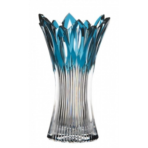 Crystal Vase Flame, color azure, height 255 mm