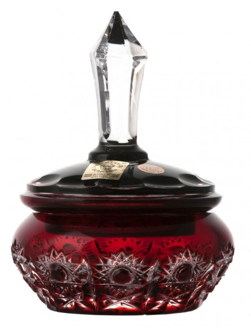 Crystal box Petra, color ruby, height 110 mm