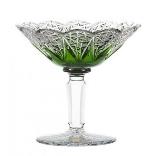 Crystal Footed Bowl FlowerBud, color green, diameter 155 mm