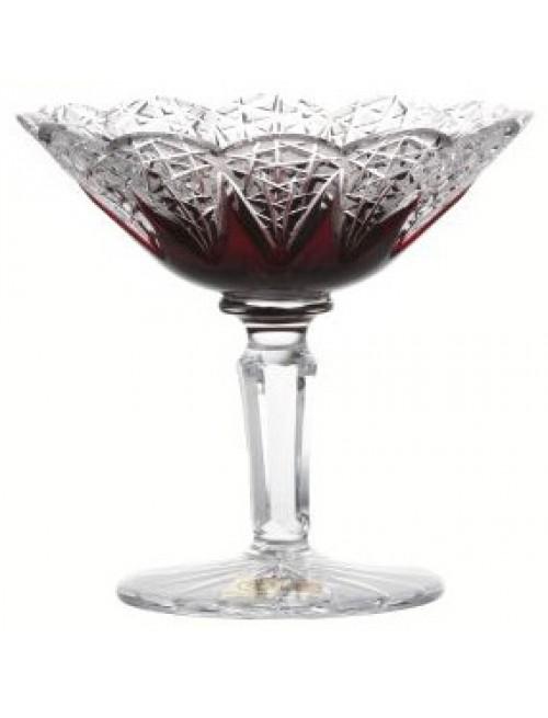 Crystal footed bowl Flowerbud, color ruby, diameter 155 mm