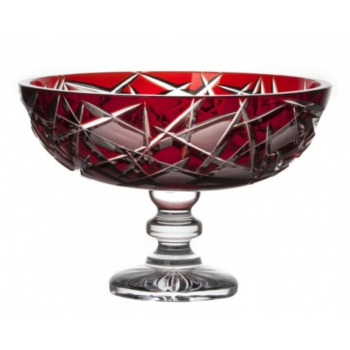 Crystal Footed Bowl Mars, color ruby, diameter 280 mm