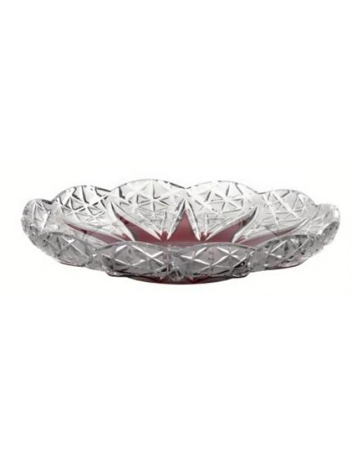 Crystal plate Flowerbud, color ruby, diameter 180 mm