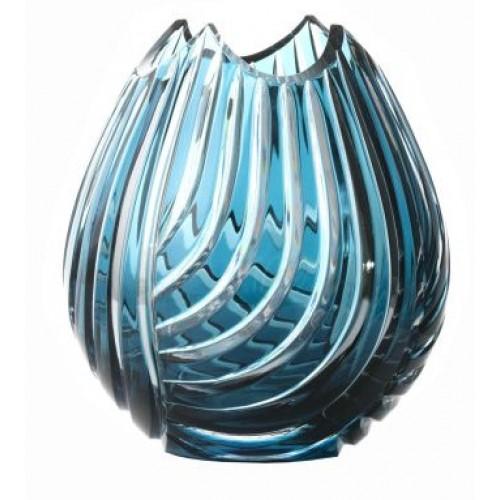 Crystal Vase Linum, color azure, height 135 mm