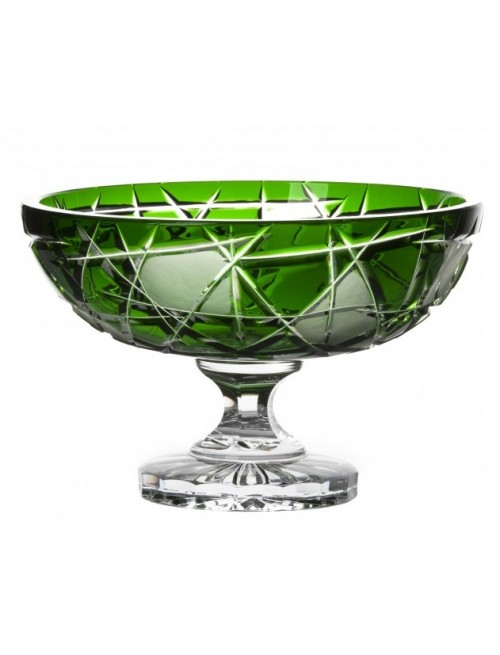Crystal Footed Bowl Mars, color green, diameter 280 mm
