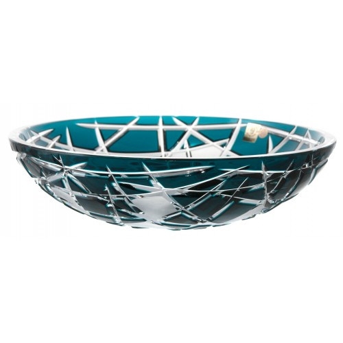 Crystal bowl Mars, color azure, diameter 280 mm