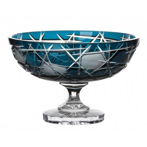 Crystal Footed Bowl Mars, color azure, diameter 280 mm