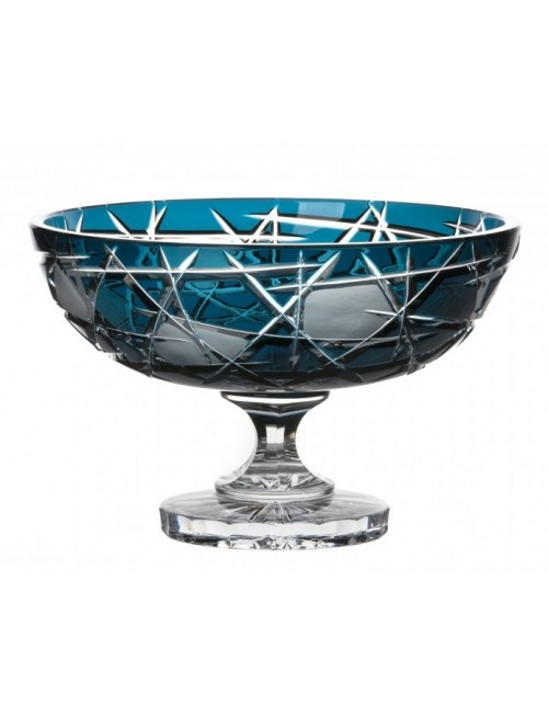Crystal Footed Bowl Mars, color azure, diameter 280 mm