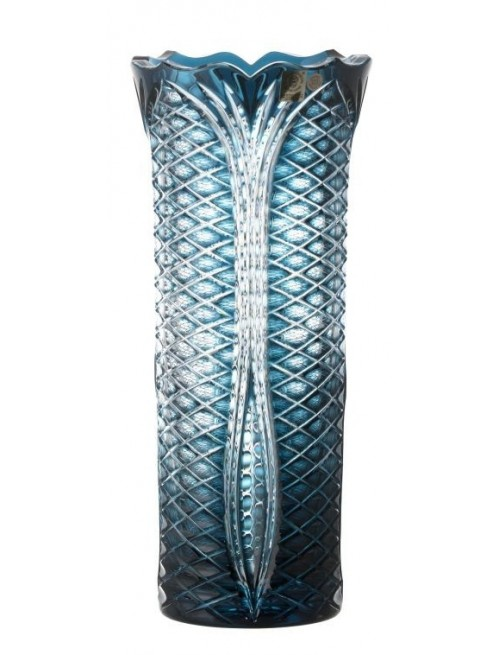 Crystal Vase Ankara, color azure, height 310 mm