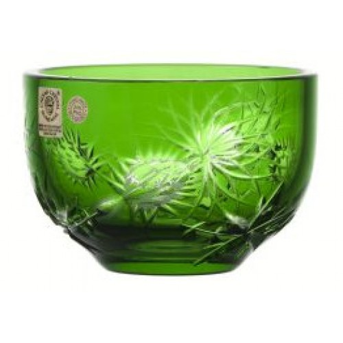 Crystal bowl Thistle, color green, diameter 110 mm