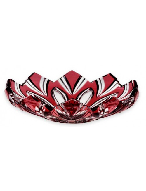 Crystal plate Lotos, color ruby, diameter 144 mm