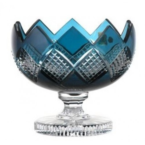 Crystal Footed Bowl Colombine, color azure, diameter 180 mm