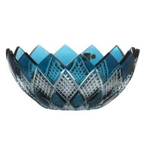Crystal Bowl Colombine, color azure, diameter 250 mm