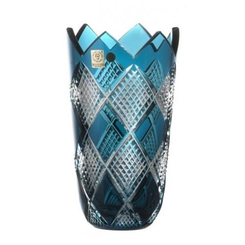 Crystal Vase Colombine II, color azure, height 205 mm
