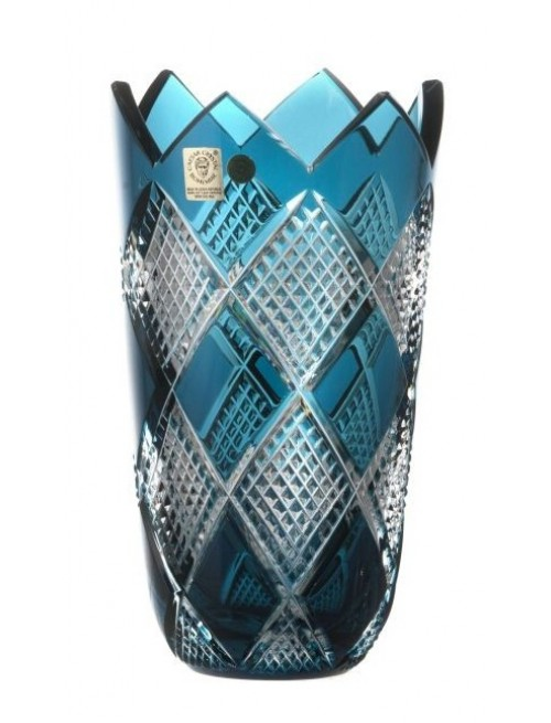 Crystal Vase Colombine II, color azure, height 205 mm