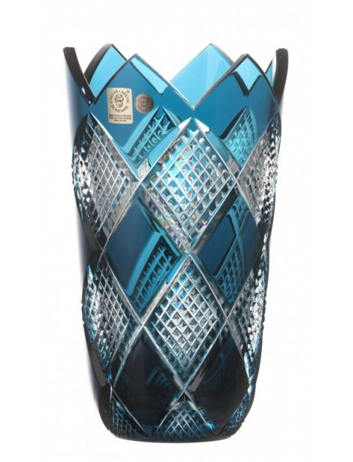 Crystal Vase Colombine, color azure, height 255 mm