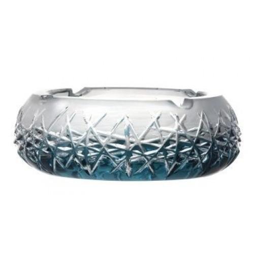 Crystal Ashtray Hoarfrost, color azure, diameter 155 mm