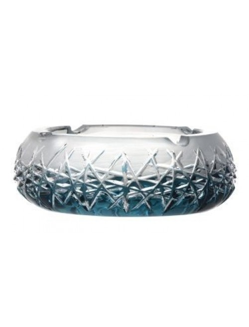 Crystal Ashtray Hoarfrost, color azure, diameter 155 mm