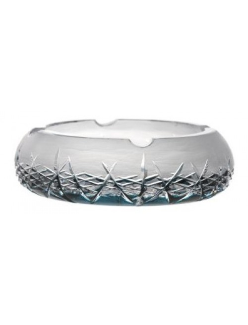 Crystal ashtray Hoarfrost, color azure, diameter 205 mm