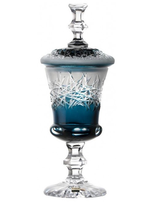 Crystal cup Hoarfrost, color azure, height 310 mm