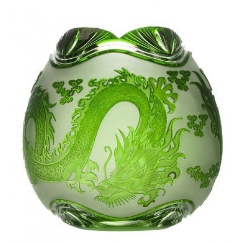 Crystal Vase Dragon, color green, height 280 mm