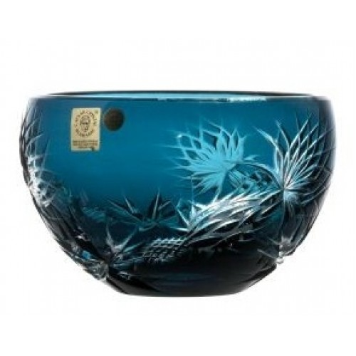 Crystal Bowl Thistle, color azure, diameter 140 mm