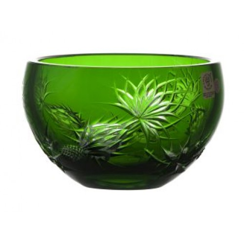 Crystal bowl Thistle, color green, diameter 140 mm