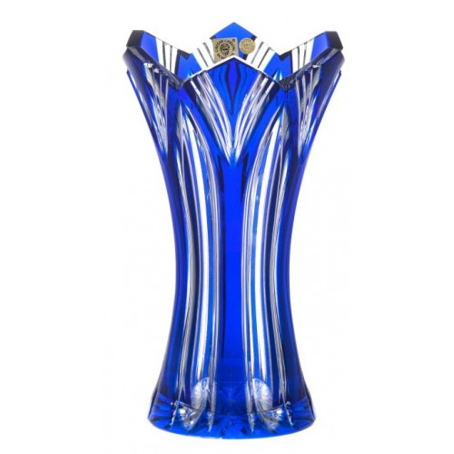 Crystal Vase Lotos, color blue, height 230 mm