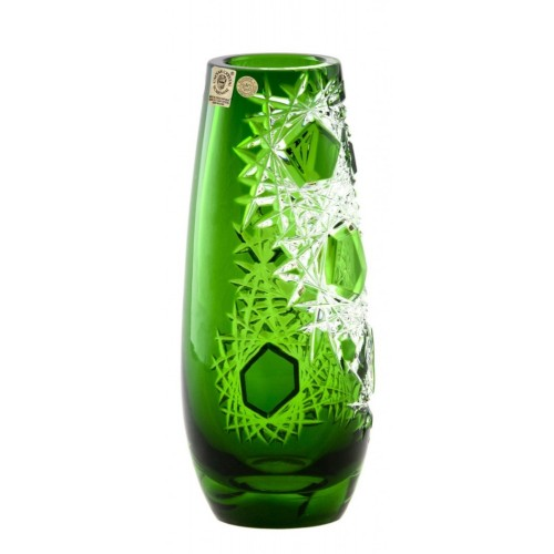 Crystal Vase Frost, color green, height 205 mm