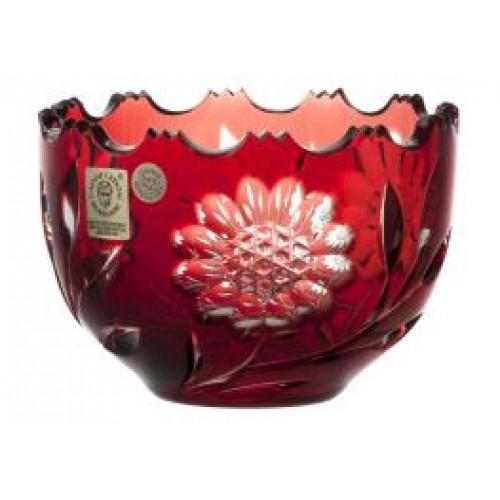 Crystal bowl Garden, color ruby, diameter 110 mm