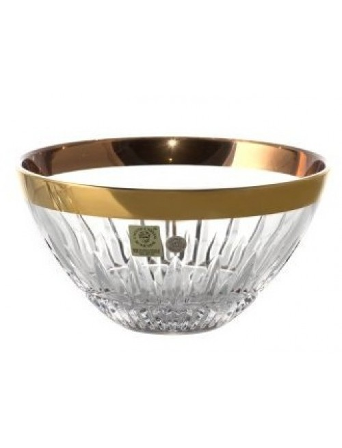 Crystal Bowl Thorn + gold stripe, color clear crystal, size 155 mm