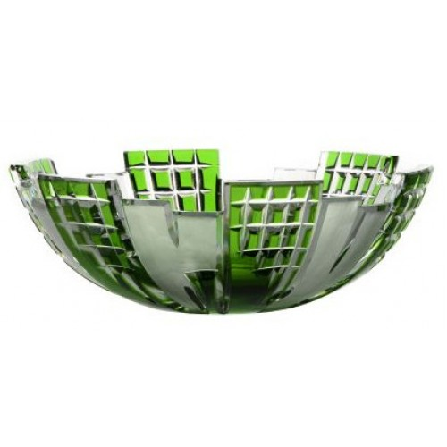Crystal bowl Metropolis, color green, diameter 180 mm