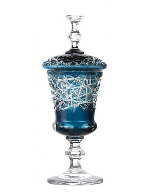 Crystal Cup Taiga, color azure, height 350 mm