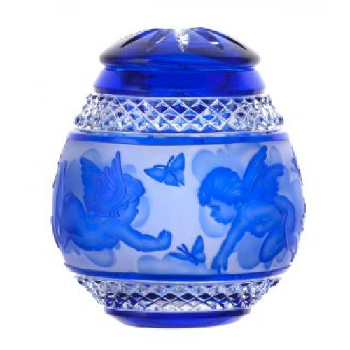 Crystal urn Angel, color blue, height 145 mm