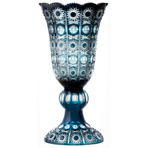 Crystal Vase Petra, color azure, height 430 mm