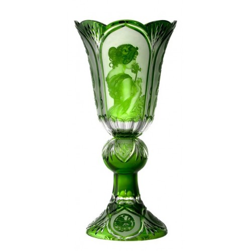 Crystal Vase Mucha, color green, height 505 mm