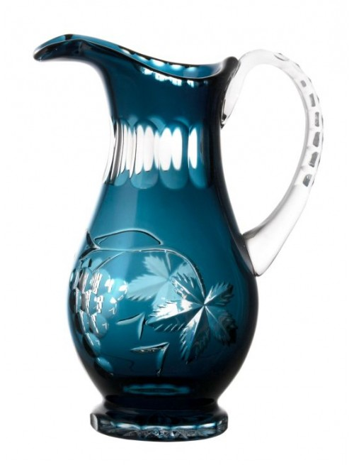 Crystal pitcher Grapes, color azure, volume 1300 ml