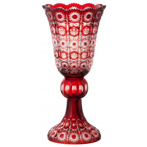 Crystal Vase Petra, color ruby, height 430 mm