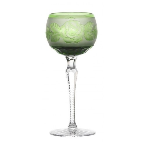 Crystal Wine Glass Rose color green, volume 190 ml