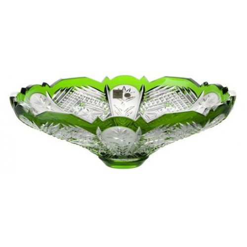 Crystal bowl Dorote, color green, diameter 320 mm