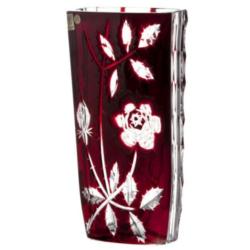 Crystal Vase Rose, color ruby, height 255 mm