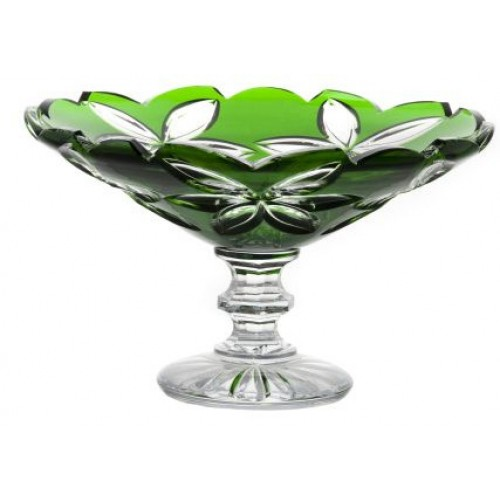 Crystal footed bowl Linda, color green, diameter 280 mm