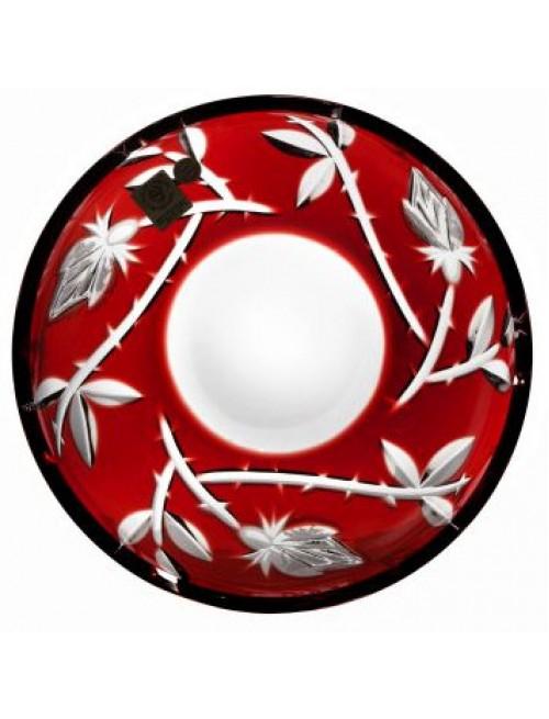Crystal plate Rose, color ruby, diameter 180 mm