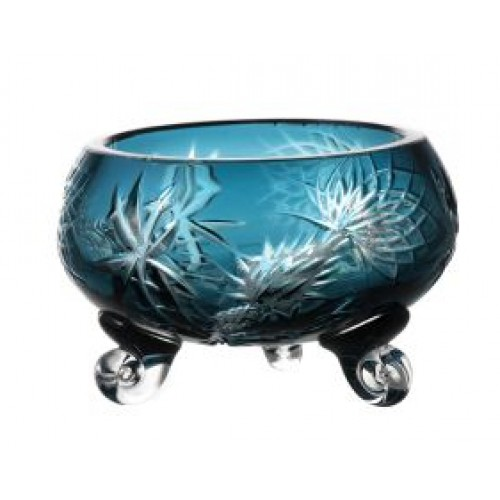 Crystal bowl Thistle, color azure, diameter 114 mm