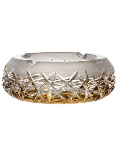 Crystal ashtray Hoarfrost, color amber, diameter 155 mm