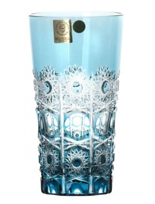Crystal glass Petra, color azure, volume 320 ml
