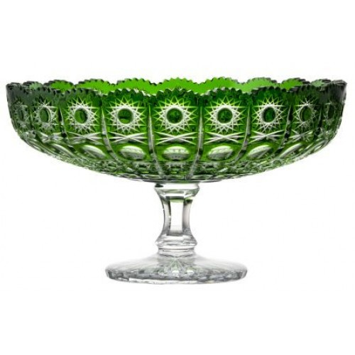 Crystal footed bowl Petra, color green diameter 330 mm