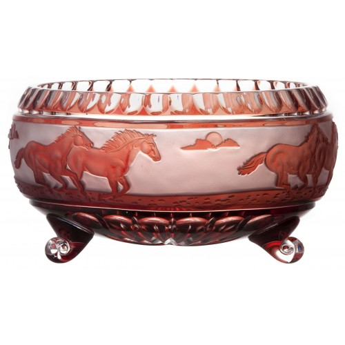 Crystal bowl Horses, color ruby, diameter 280 mm
