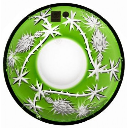 Crystal plate Thistle, color green, diameter 181 mm