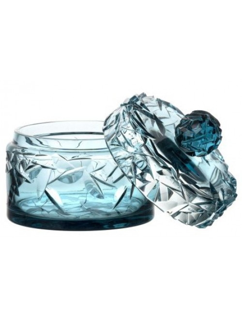 Crystal box, color azure, height 165 mm