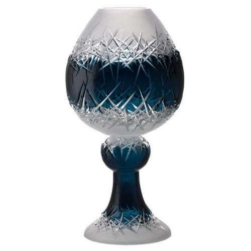 Crystal Vase Hoarfrost, color azure, height 560 mm